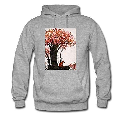 HGLee Printed Personalized Custom Lovely Red Fox Classic Women Hoodie Hooded Sweatshirt Gray--1