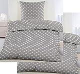 4-tlg. Biber Winter Bettwäsche 2x (135 x 200 + 80x80 cm), 100% Baumwolle, grau weiß Sterne klein (40104)