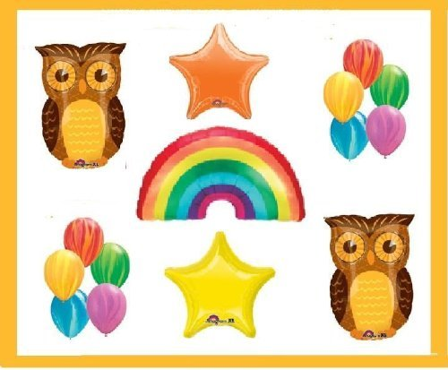 RAINBOW birthday party OWL DECORATIONS supplies BALLOONS farm barn nature by Lgp (Supplies Owl Party)