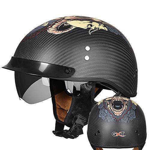 PURROMM Casco Moto Adulto-DVS Nero Half Face Scooter Rider Uomo e Donna Commuter Racing Touring Urban Sports DOT Certified Casco Aperto in Fibra di Carbonio,A,L