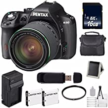 Pentax K-50 DSLR Camera With 18-135mm Lens (Black) + Replacement Lithium Ion Battery + External Rapid Charger + 16GB SDHC Class 10 Memory Card + Deluxe Starter Kit 6AVE Bundle