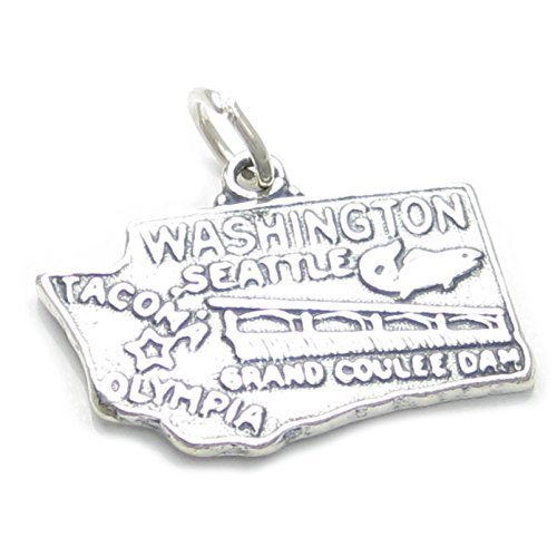 Washington Stato Ciondolo in argento Sterling 925 x1 USA Stati America Charm sssc646