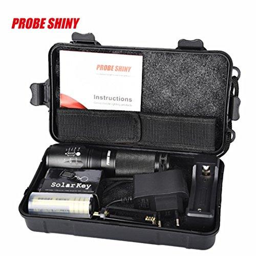 Preisvergleich Produktbild Taschenlampen-Set, SHOBDW X800 Zoomable XML T6 LED Taktische Polizei Taschenlampe + 18650 Akku + Ladegerät + Gehäuse