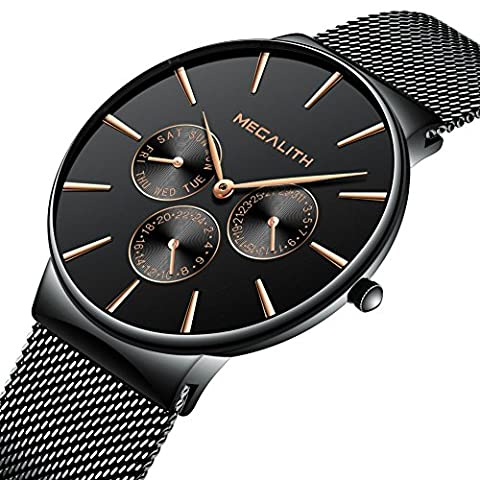 Mens Stainless Steel Mesh Bracelet Watches Chronograph Waterproof Sub-Dials Date Calendar Thin Wrist Watch Gents Luxury Business Casual Dress Analogue Quartz Watches with Black Dial