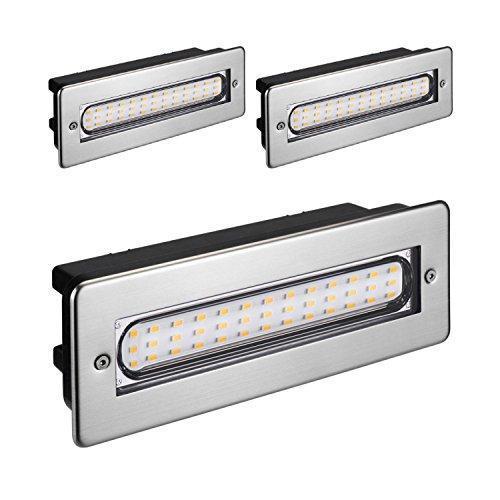 parlat LED lampada per scale lampada da incasso a parete da esterno angolare 20x7cm 230V bianca calda, 3 PZ