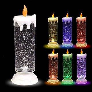 ArtiCasa LED-Glitterkerze mit Farbwechsler 24cm Weihnachtskerze Adventskerze Motivkerze