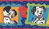 101Dalmatians Disney Cartoon Tapete Bordüre–Schwarz, Weiß, Blau, Orange, Rot–Kinder Baby Zimmer, Rolle 15'x 17,8cm