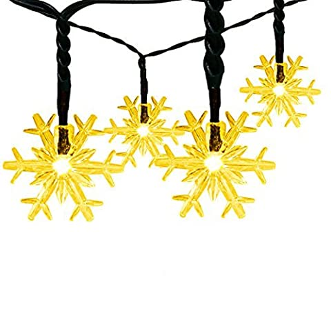 Satu Brown Outdoor Fairy Lights, 30 Snowflakes LED 21ft 6.5M Garden/Party Solar String Lights Warm White Led Valentines Decorations Lighting for Christmas Tree Window, Patio,