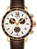 Tissot Unisex Brown Leather Band Gold Tone Steel Bracelet Swiss Quartz White Dial Watch T0954173603701