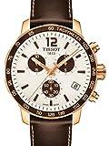 Tissot Unisex-Armbanduhr Armband Leder Braun Gehäuse Goldfarbenes Edelstahl Schweizer Quarz T0954173603701