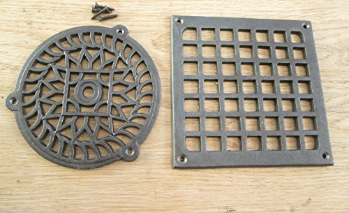 ANTIQUE CAST IRON VINTAGE STYLE AIR VENT AIR BRICK GRILLE COVER (SQUARE  140MM X 140MM
