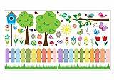 nikima - 073 Wandtattoo Wandbild Kinderzimmer bunter Garten Vögel Schmetterlinge Vogelhaus - in 6 Größen - niedliche Kinderzimmer Sticker Babyzimmer Aufkleber süße Wanddeko Wandbild Junge Mädchen (750 x 420 mm)