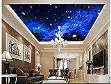 Chlwx 3D Fototapete Custom 3D-Decke Tapeten Wandmalereien Im Mediterranen Wandgemälden Blauer Himmel Sterne Wohnzimmer Deckenmalereien Dekoration 200Cmx150Cm