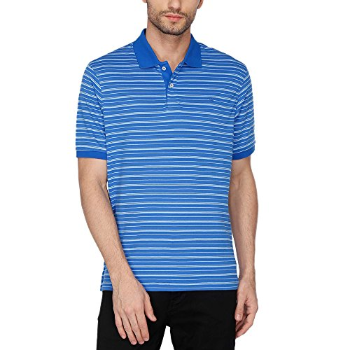 Louis Philippe Mens Stripe Polo T-shirt  available at amazon for Rs.1399