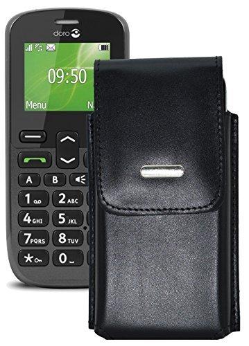 Vertikal Etui für / Doro PhoneEasy 508 / Köcher Tasche Hülle Ledertasche Vertical Case Handytasche mit einer Gürtelschlaufe auf der Rückseite