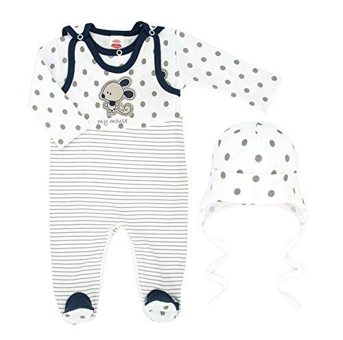 3-tlg. Baby Set Strampler mit Langarmshirt Erstausstattung Unisex Größe 50-86 (62, Mouse mit Mütze)