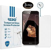 Huawei Ascend G8 / GX8 Protector cristal templado - RE3O® 3 x Protector de pantalla cristal templado vidrio templado para Huawei Ascend G8 / GX8 5,5'' pulgadas, Borde redondo elegante 2,5D, Fácil de instalar y sin burbujas de aire, Dureza 9H Anti-choque y Resistencia al desgaste a prueba de rasguños, Alta transparencia, Efecto anti-huella digital perfecto