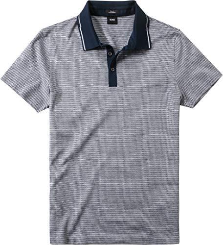 BOSS Hugo Herren Polo-Shirt Pitt T-Shirt, Größe: L, Farbe: Blau - Mercerisierte Jersey Polo