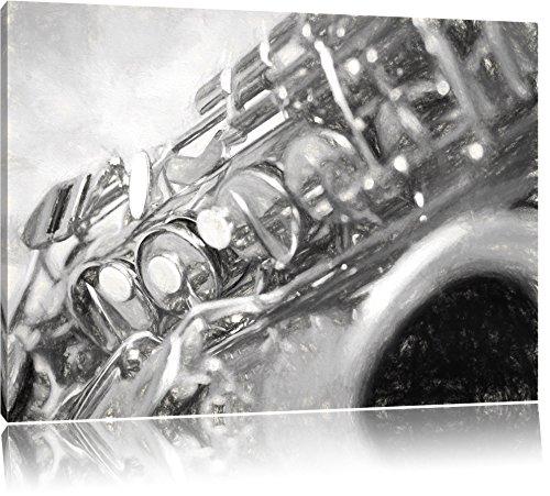 Saxophon-Kohle-Effekt-Format-80x60-auf-Leinwand-XXL-riesige-Bilder-fertig-gerahmt-mit-Keilrahmen-Kunstdruck-auf-Wandbild-mit-Rahmen-gnstiger-als-Gemlde-oder-lbild-kein-Poster-oder-Plakat