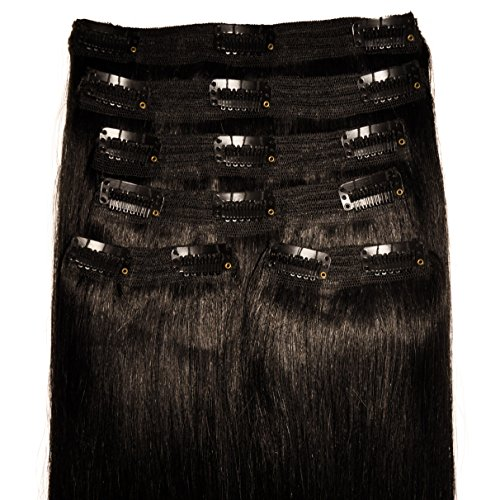 Deluxe, Quadruple Weft, FULL HEAD, Real Clip-in Hair Extensions - 100% Remy, Luxury Soft, Human Hair, (20 inch, 6pcs, 235g, #1b - Natural Black) -