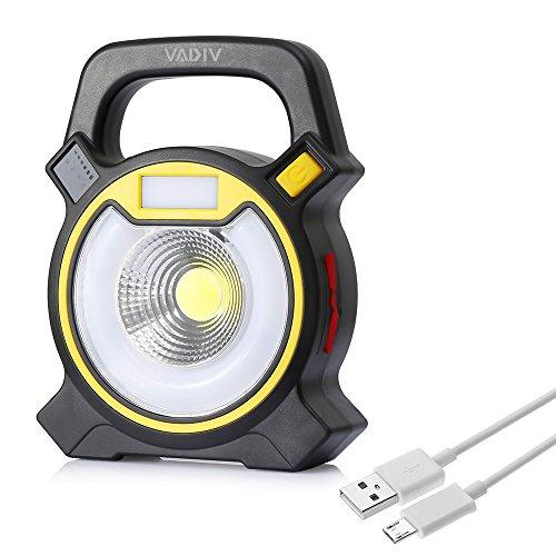 VADIV Lámpara Trabajo Solar Recargable USB, Portátil COB LED Lámpara Punto Recargable Portátil Camping Senderismo Lámpara Emergencia Luz Diurna Modo Flash Azul Rojo SOS