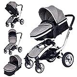 Baby Kinderwagen Safe&Care 2 In 1 Jogger Reisen Buggy Kombikinderwagen Urlaubskinderwagen (Grey)