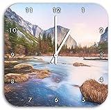 Yosemite National Park California Kunst Buntstift Effekt, Wanduhr Durchmesser 28cm mit weißen spitzen Zeigern und Ziffernblatt, Dekoartikel, Designuhr, Aluverbund sehr schön für Wohnzimmer, Kinderzimmer, Arbeitszimmer