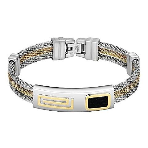 AnazoZ Acier inoxydable Homme Bracelet Argent Doré Noir rectangle ID trois rangées Fil de câble torsadé Manchette