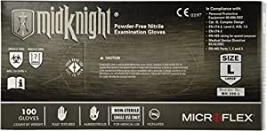 Microflex (MFXMK296L) MidKnight Black Powder-Free Nitrile Examination Gloves - Large, 100ct. by Microflex