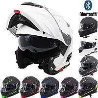 MTCTK Motorrad Integrierter Bluetooth-Helm Funksprechanlage Motorrad-Klapphelm mit Anti-Fog-Doppelscheibe