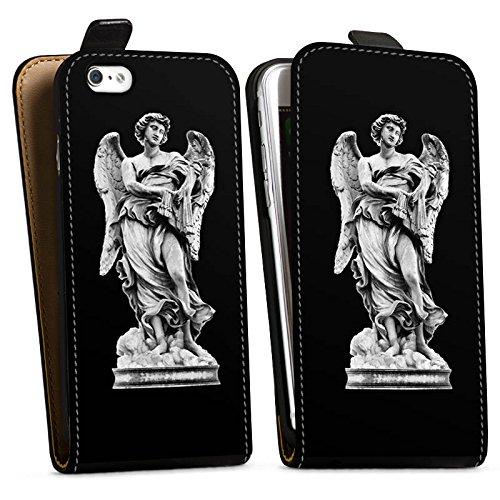 Apple iPhone X Silikon Hülle Case Schutzhülle Engel Statue Angel Downflip Tasche schwarz