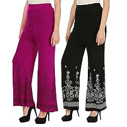 Haniya Free Size Combo of Printed Viscose Palazzos for Women (Black & Magenta)