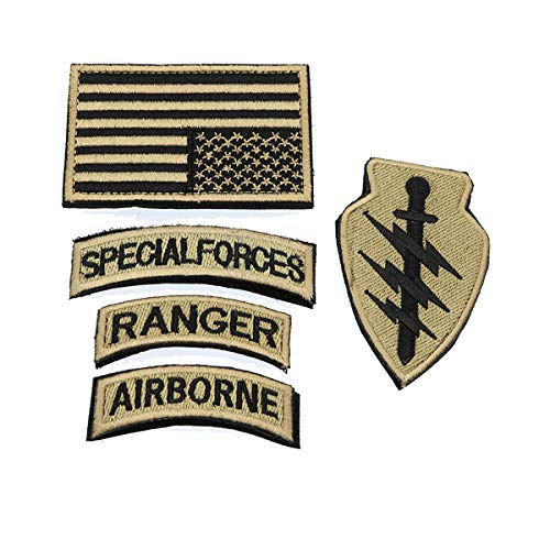 Cobra Tactical Solutions Military Patch Set Special Forces Ranger Airborn mit Flagge USA Gold und Klettverschluss -