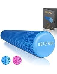 High Pulse Rodillo Pilates con Tabla de Ejercicios / Rodillo de espuma multifuncional para fortalecer los musculos, Fitness o masajes, 90 x 15 cm (Azul)