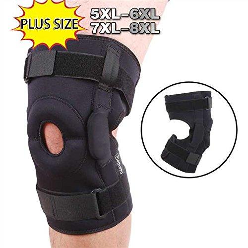 Disuppo tutore ginocchio per taglie, avvolgere attorno per adattarsi a grandi gambe, stabilizzatore regolabili forniscono un forte sostegno per il sollievo dal dolore, menisco strappo, artrite e gli atleti (black, 5xl-6xl(46.5-53cm))