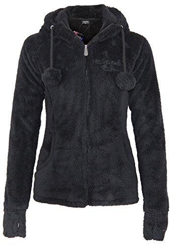 Stitch & Soul Damen Teddy Fleecejacke mit Kapuze und Öhrchen | Warme Flauschjacke mit hohem Kragen, Größe:L, Farbe:Black