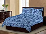 Bombay Dyeing Ivyrose 120 TC Cotton Double Bedsheet with 2 Pillow Covers - Blue