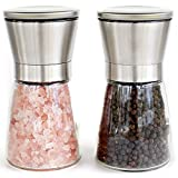 Salz Pfeffermühle 2 teiliges Set, einstellbarer Mahlgrad, Keramikmahlwerk, manuell, Edelstahl, Glas, Gewürzmühle, 2 Stück, SolFar