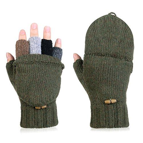 Vbiger Fingerlose Fäustlinge Damen Fingerhandschuhe Fingerlos Halb Handschuhe Gestrickte Strick Handschuhe mit Flip Top
