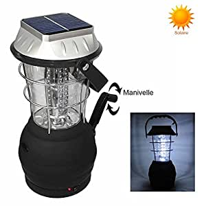 Dynamo lanterne allume cigare panneau solaire design 36 LED noir