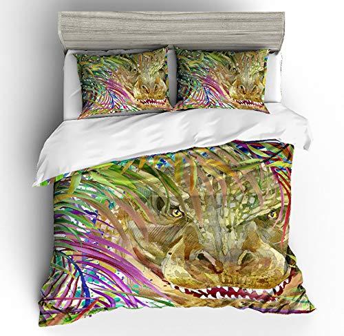 JSDJSUIT Bettwäsche-Set MUSOLEI 3D Duvet Cover Set Animal Dinosaur Tyrannosaurus Rex in The Grass, Faucet Bed Sheet Twin Queen King,AU Queen 3pcs