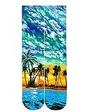 chicolife Mens Casual calcetines equipo palmera Floral Coco impreso algodón medias calcetines estilo hawaiano verde