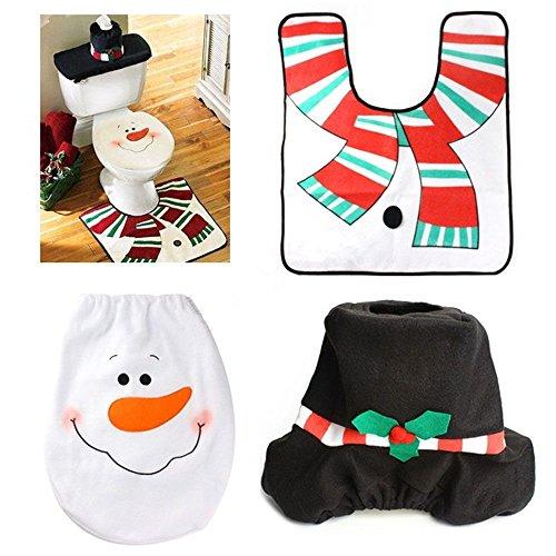 MMRM Decoraciones cuarto de baño de Navidad Feliz papa noel de asiento de inodoro cubierta y tapetes determinado del muñeco de nieve