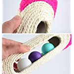 OWIKAR Cat Scratcher Sisal Rope Woven Scratching Barrel Toys with Ball Trapped Ball Training Cat Catch Sisal Post Hollow Column, Pink Purple Green Random Color,1 pack 14