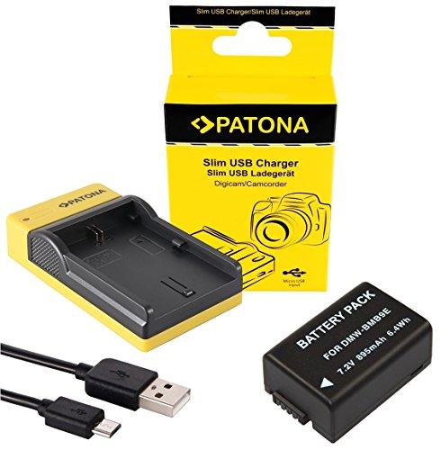 Slim Ladegerät + Akku für die Panasonic Lumix FZ72/DMC-FZ72 - Ersatzakku für Panasonic DMW-BMB9 | einfach mit jedem micro-USB Kabel/Ladegerät (z.B. Smartphone) zu verwenden