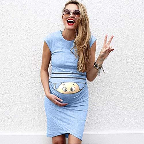 ZHANSANFM Umstandskleid Damen Umstandsmode Lustig Baby Drucken Sommerkleid Vintage Elegant Maternity Dress Ärmellos Beiläufiges Weiches Schwangerschaftskleider Mode Schöne (XL, Hellblau) -