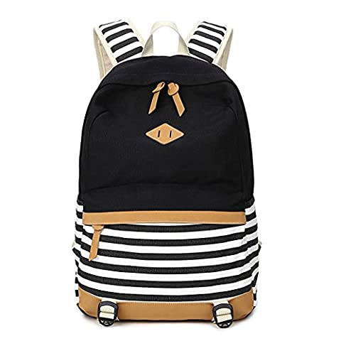 Fresion Casual Canvas Striped Backpack Fashion Shoulder Daypack Cute School Bag Lightweight Backpacks for Teen Boys Girls