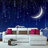 YUANLINGWEI 3D Custom Photo Moderne Wandbild Tapetenbahn Für Wohnzimmer Fantasie Mond Wolken Sternenhimmel Schlafzimmer Kinderzimmer Dekor Tapete,50Cm (H) X 70Cm (W)