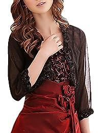 Coprispalle Donna Elegante Chiffon Trasparente Manica 3 4 Cardigan Bolero  per Serate di Gala O 513d9d98bffa