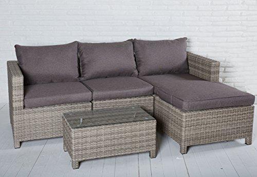 Exklusive 4-teilige Sitzgruppe aus Polyrattan zum Wohlfühlen in braun für Ihren Garten oder Außenbereich - Luxus Lounge Set Gartenmöbel Comfortlounge Terrasse
